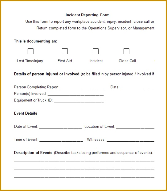 Blank Emplayee Incident Reporting Form 623544