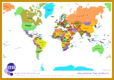 Politically coloured World map 164232