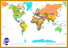 Politically coloured World map 164232