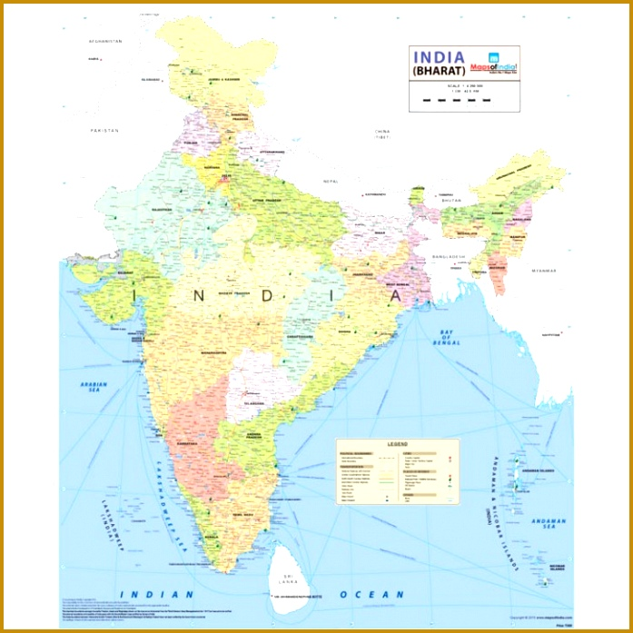 India Wall Map Poster [Vinyl printed] 54 x 65 inches 697697