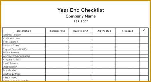 Year end checklist 284521