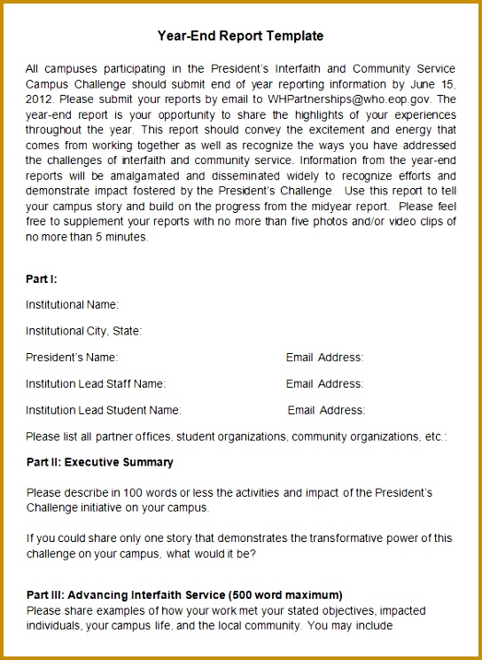 President s Interfaith End of Year Report Template 744544