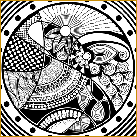 Zentangle circle black and white Free vector 6 44MB 558558