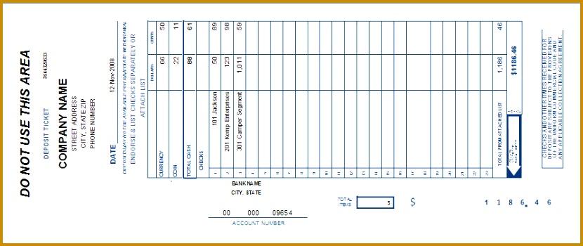 bank deposit slip 350830