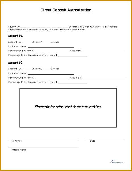 Direct Deposit Form Direct Deposit Form Template Free Direct Deposit Form Template Employee 601465