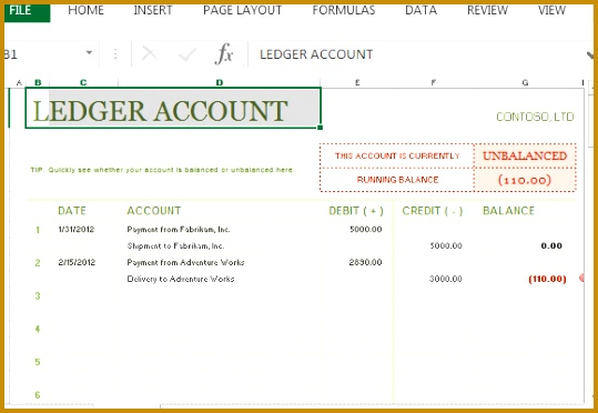 beautifully laid out t account ledger for excel 372539