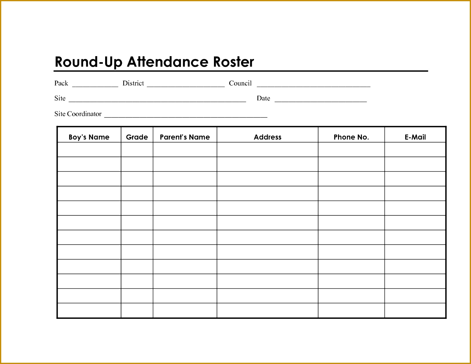 attendance sheet template word 11931541