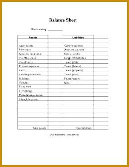 Balance Sheet Blank Business Form Template 338261