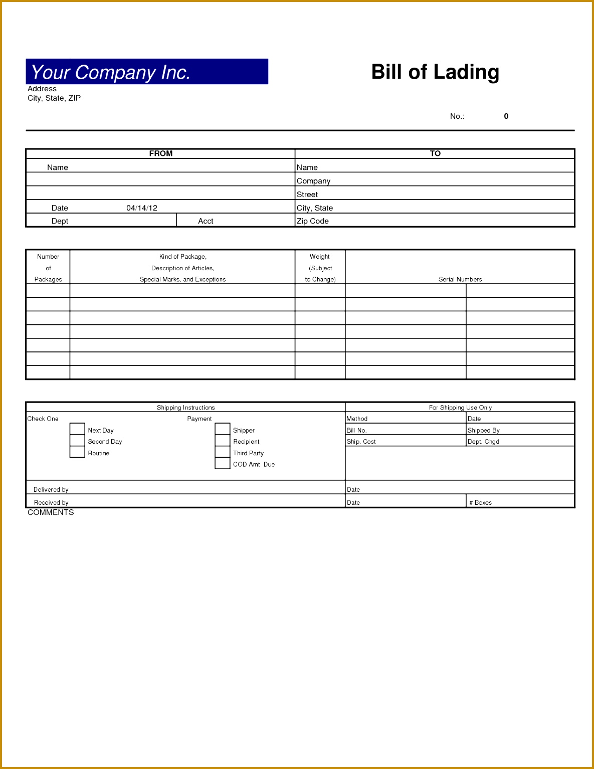 bill of ladings forms