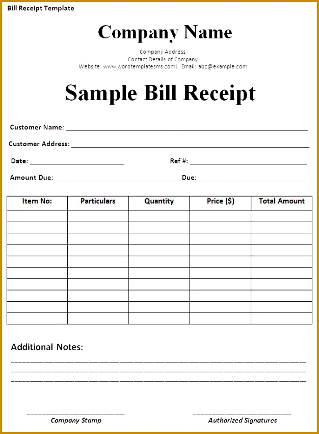 Bill Receipt Template 850626