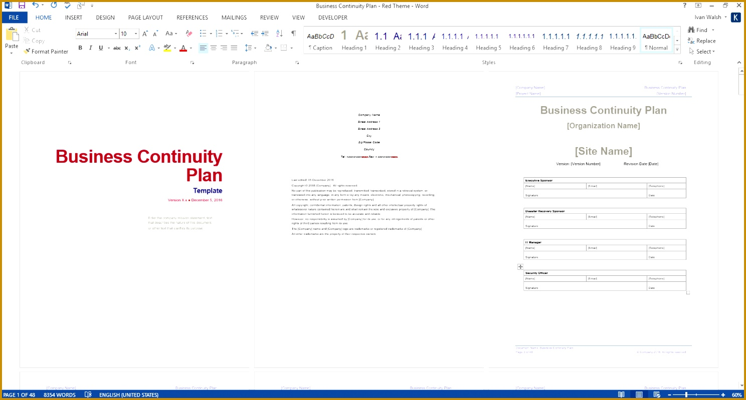 business continuity template ms word red 7991488
