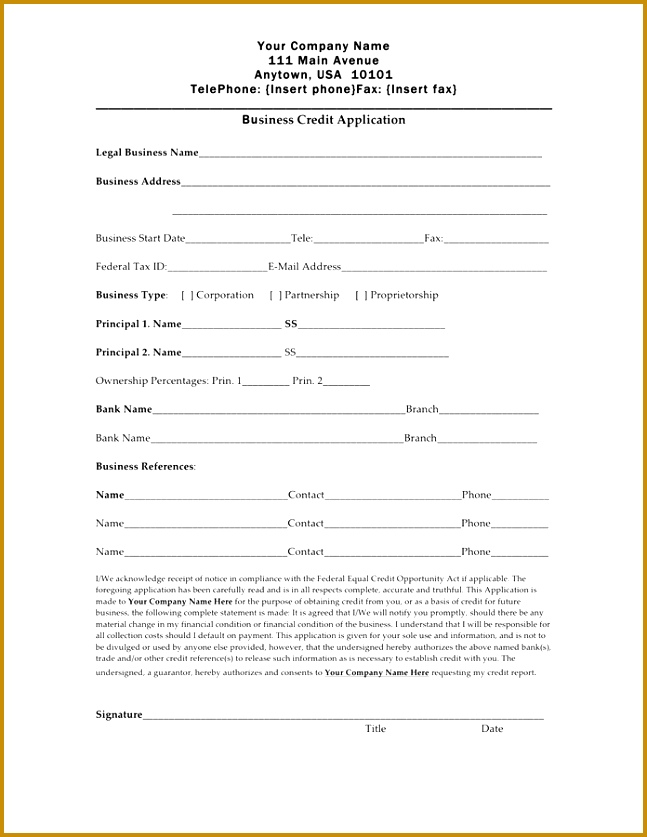 Business credit application form preview 837647