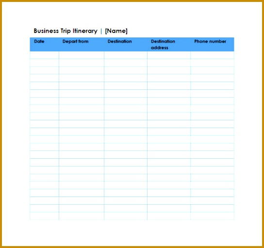 Business Trip Itinerary Google Spreadsheet Example Template Download 511544