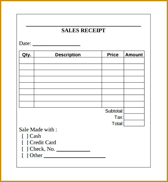 cash receipt template 604558