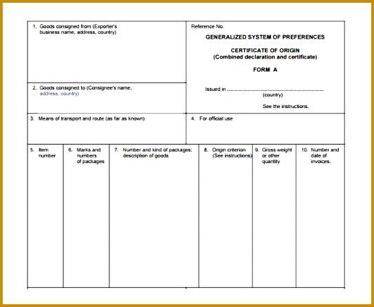 certificate of origin template 446544