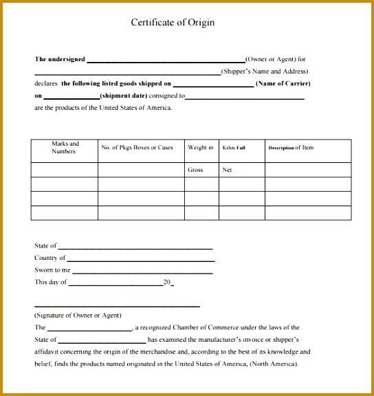 certificate of origin template 544576