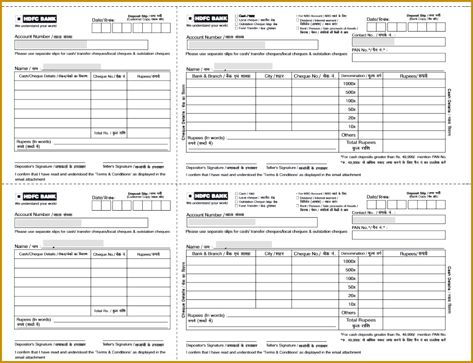 HDFC Cheque and Cash Deposit Slip 974748
