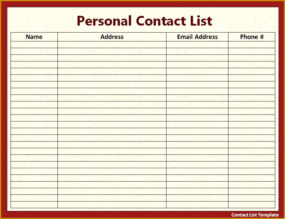 Contact List Template 732950