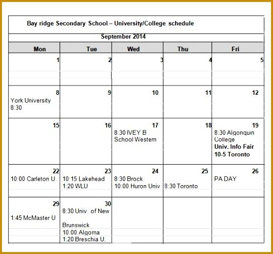 University College Schedule Example1 558520