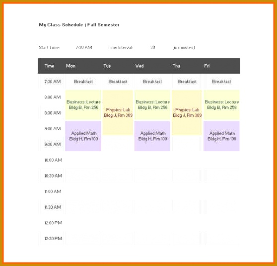 class schedule template free class schedule template 535558