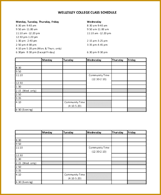 Free Download College Class Schedule Template 662544