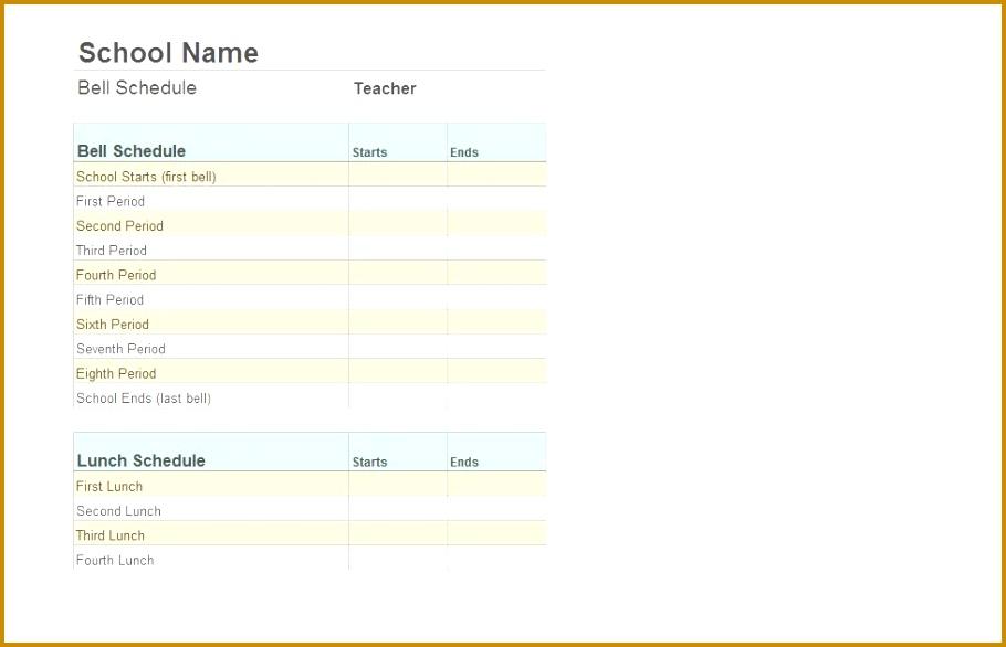 Class Schedule Template 586910