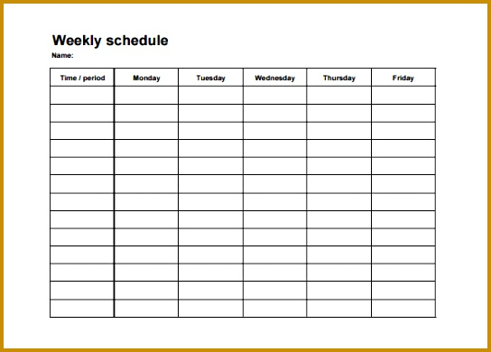 College Weekly Schedule Template Free PDF Format 390544