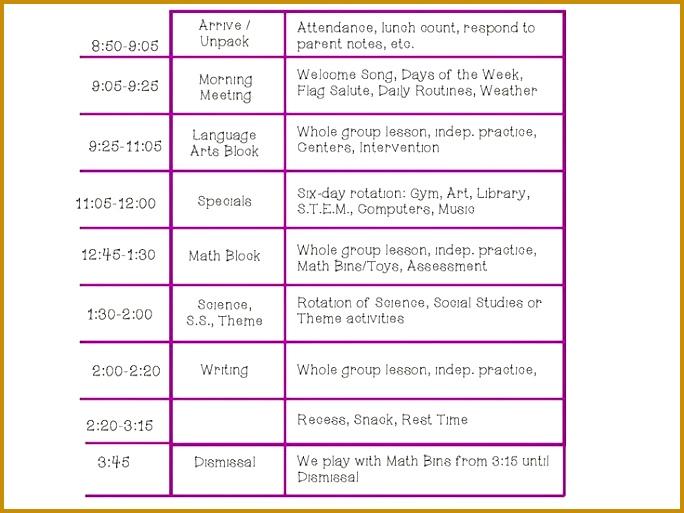 Kindergarten Class Schedule 513684
