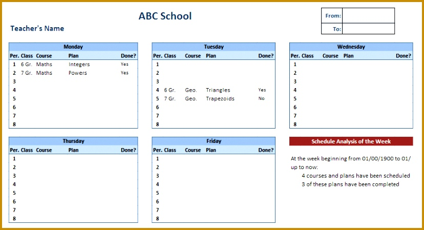 Teacher Schedule Template 449828
