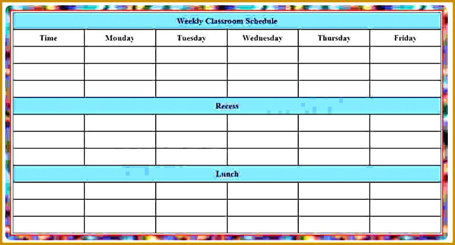 School Schedule Templates blank Weekly Class Schedule Template 478888