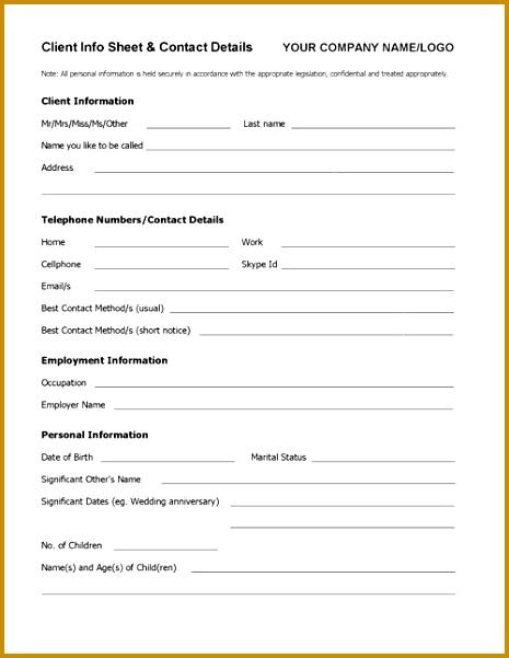 Client Info Sheet TEMPLATE 465601