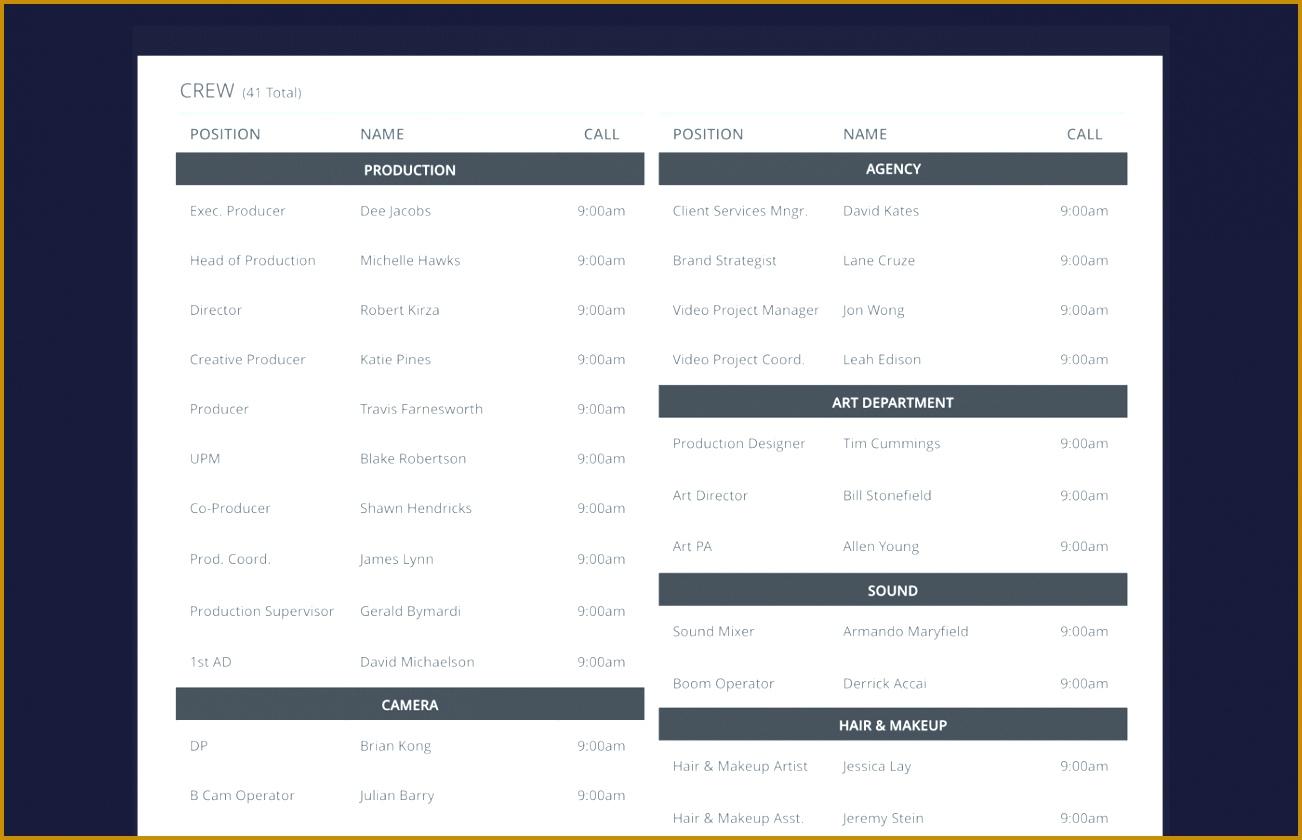 Create a Better Call Sheet with Free Call Sheet Template Crew List StudioBinder 8401302