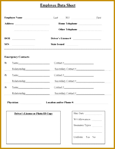 Employee Contact Information Form Template 483372
