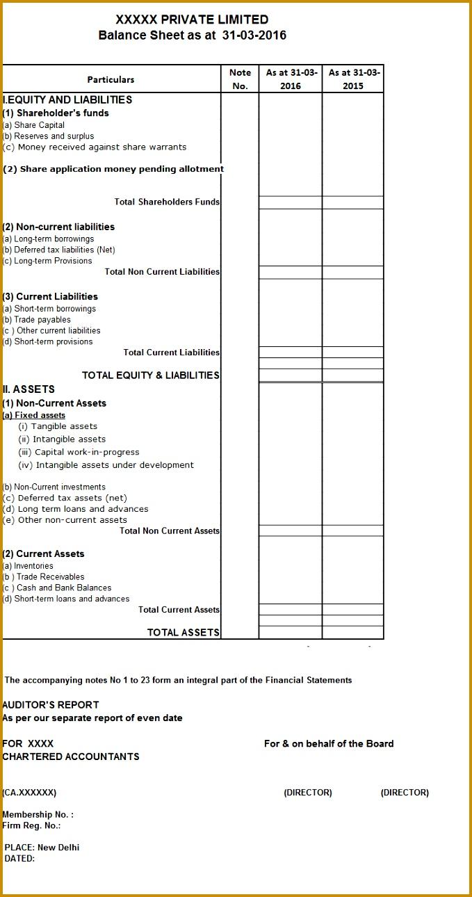 Format of Balance Sheet 6791290