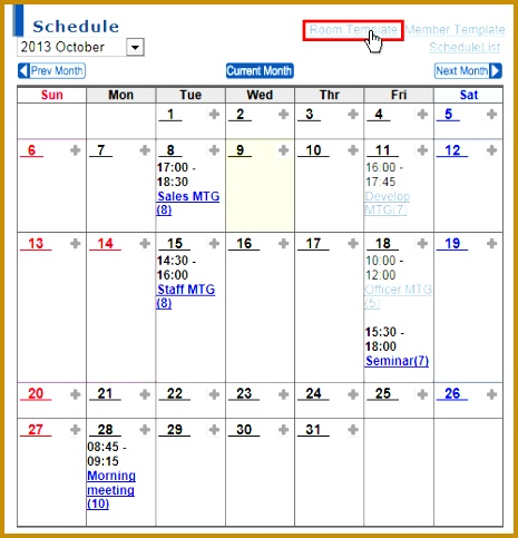 room scheduling template
