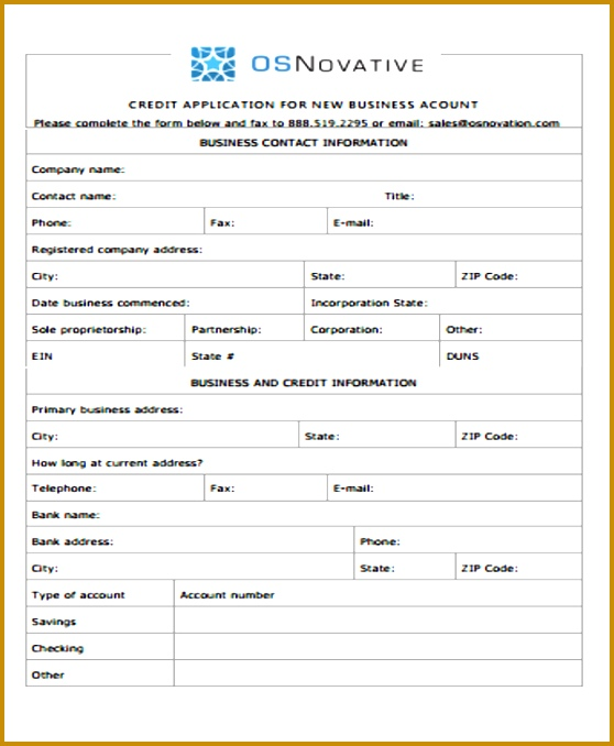 Credit Application For Business Account Ex 678558