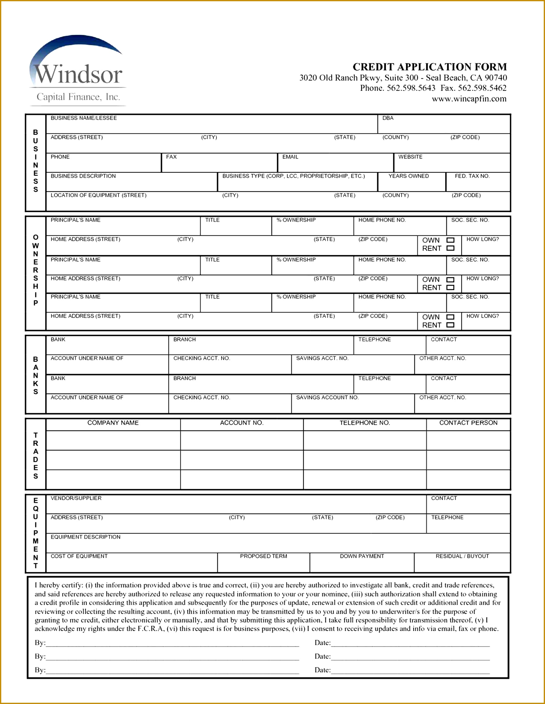 Free Credit Application Form Template 17672285