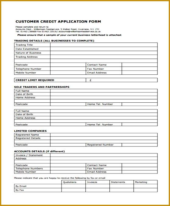 Sample Customer Credit Application 678558