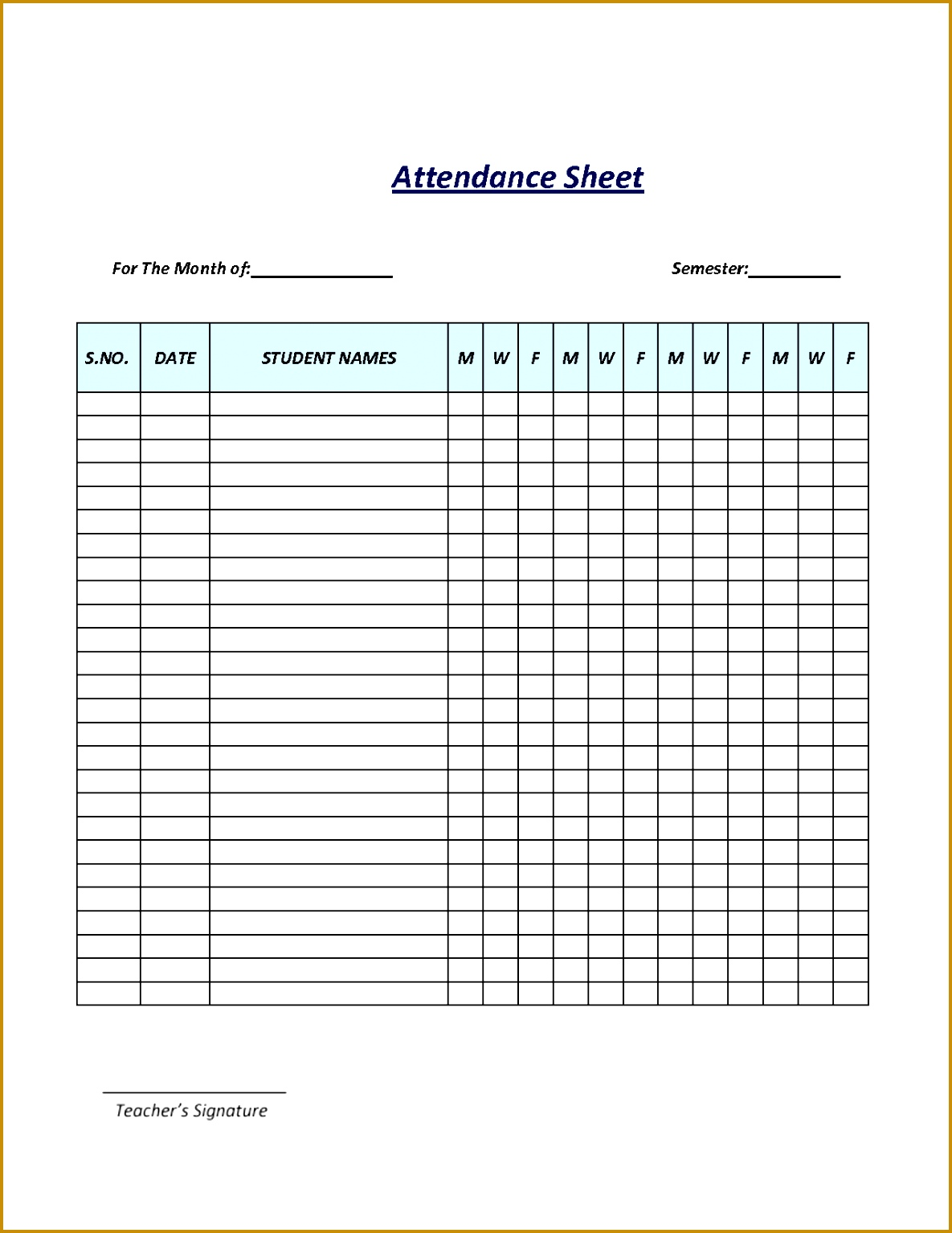 Attendance Template Word General Liability Waiver Printable 7 Best Sheet Free Employee Post 15341185