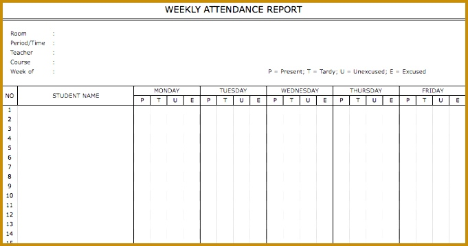 Weekly Attendance Report Template 359681
