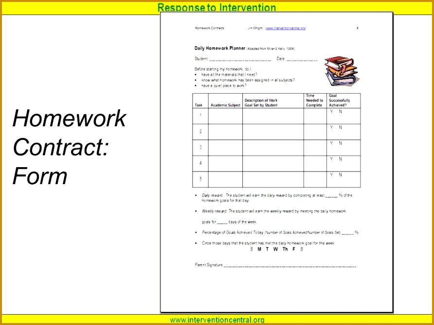25 Homework Contract Form 669892