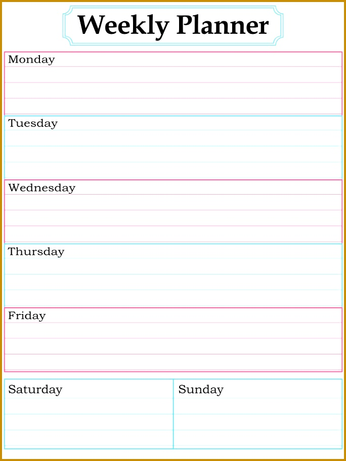 weekly planners template 912684