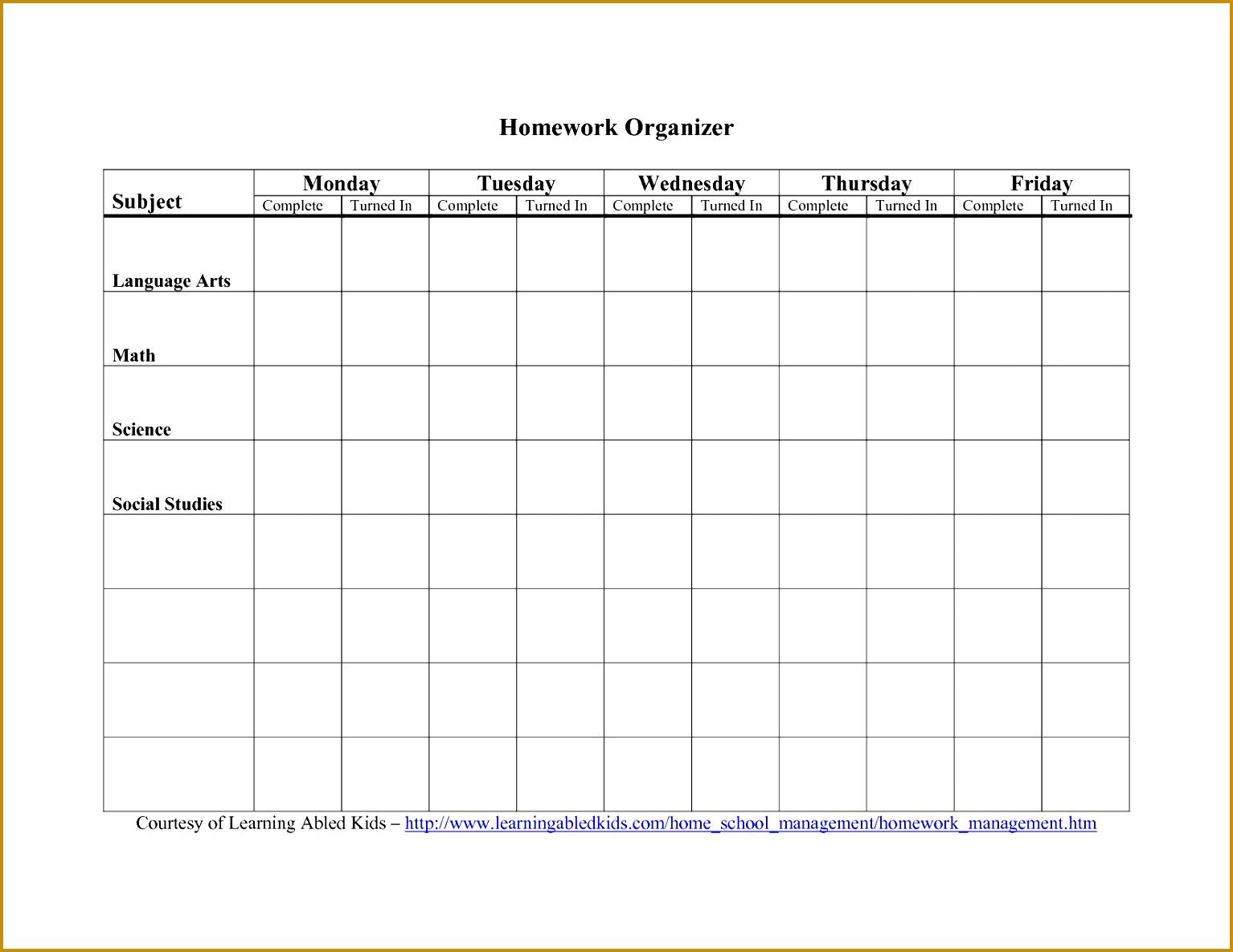 Homework Agenda Template 11851534
