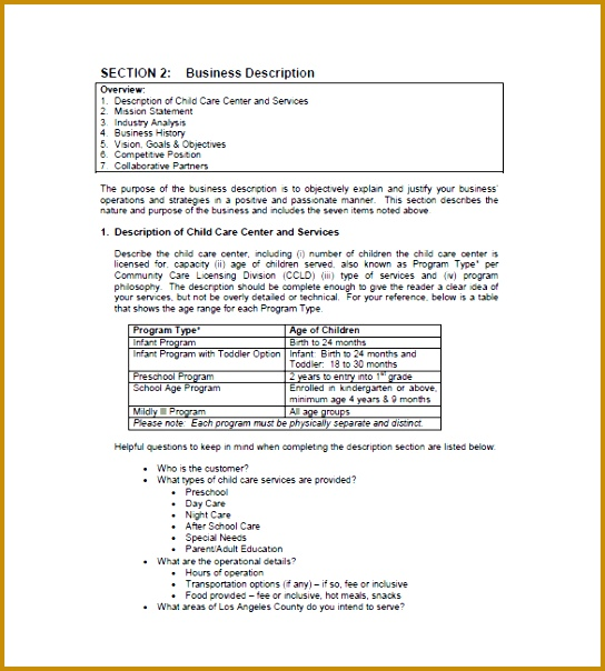Child Daycare Business Plan Template 604544