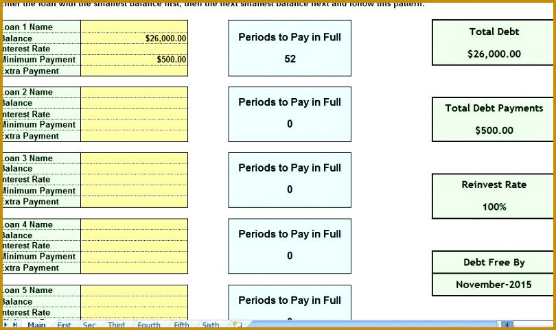 Debt Snowball Consolidation Calculator Excel Spreadsheet Debt Snowball Calculator Excel Template Debt Snowball Calculator Excel Template 481810