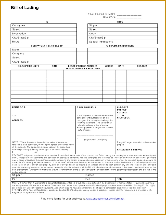 Printable Sample Blank Bill Lading Form 677876