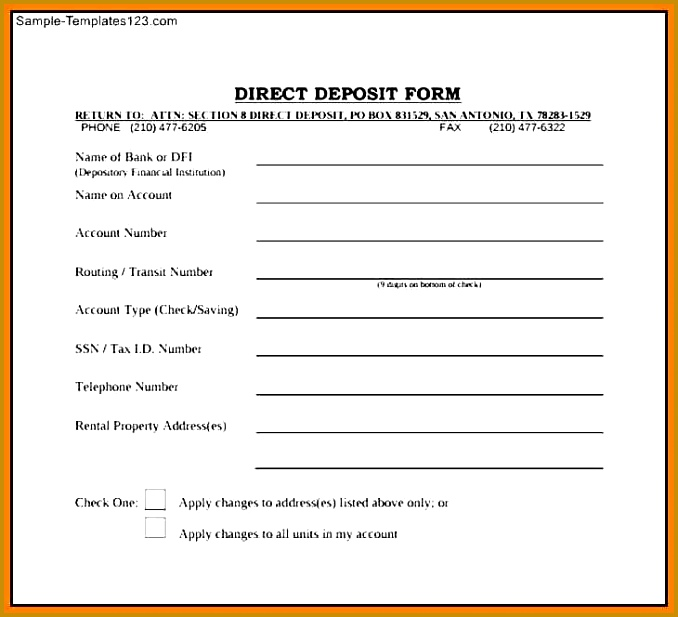 direct deposit form template deposit form template 617678