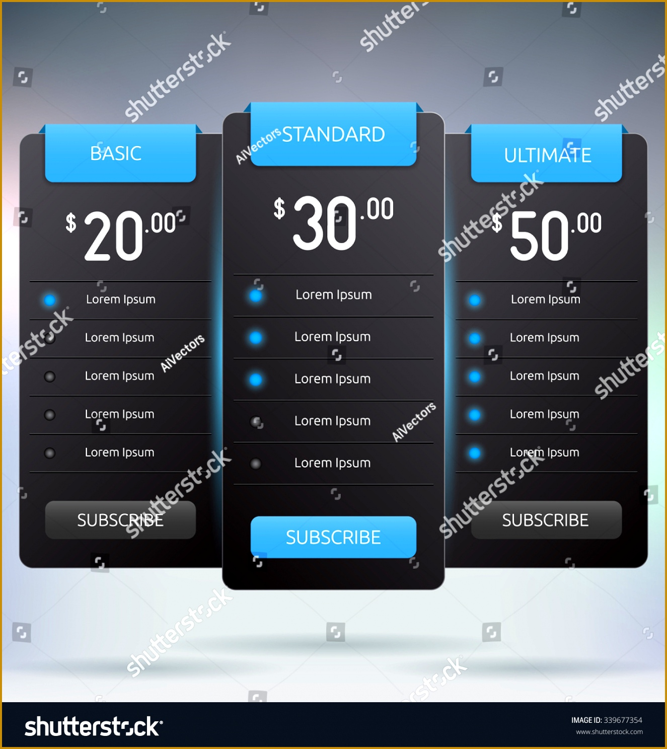 Pricing Tables Interface Mock Up Vector Template 14881325