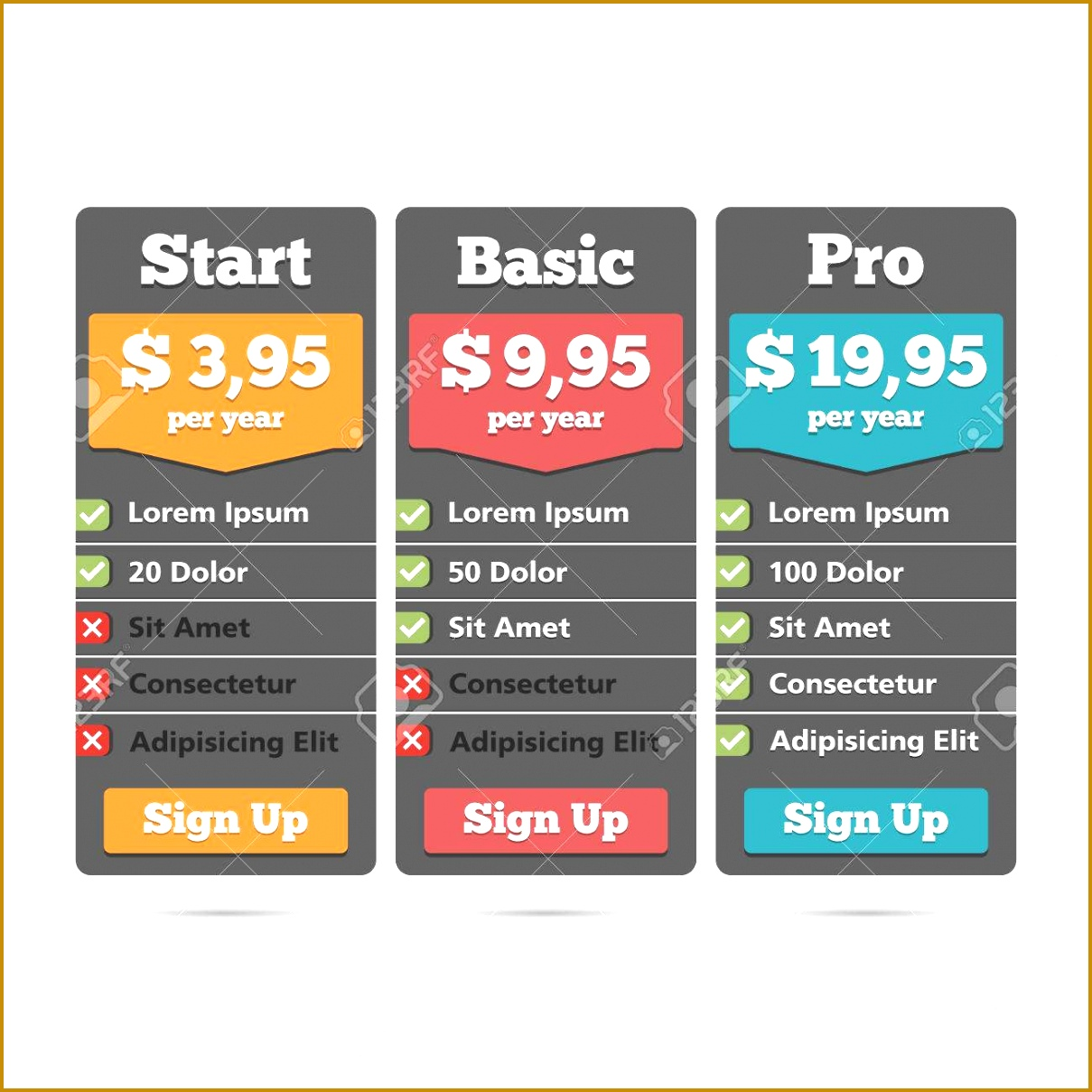 Pricing table for web design template Stock Vector 12091209