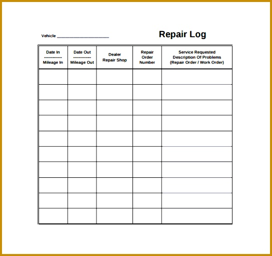 Automobile Repair Log Template 511544